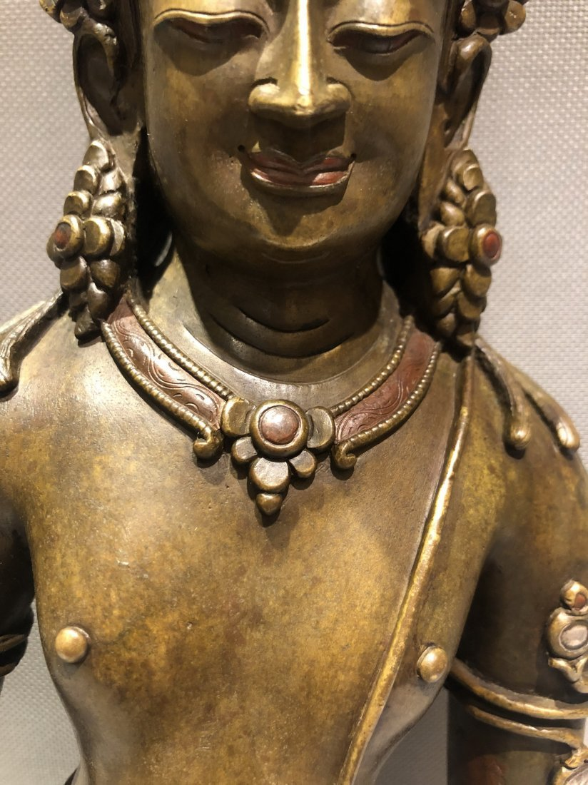 Large Bronze Figure Of Standing Guanyin - 4