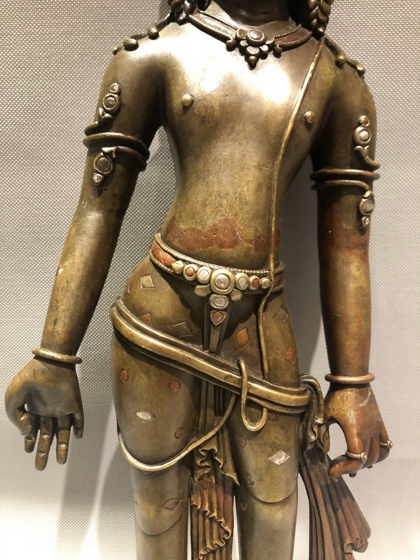 Large Bronze Figure Of Standing Guanyin - 5