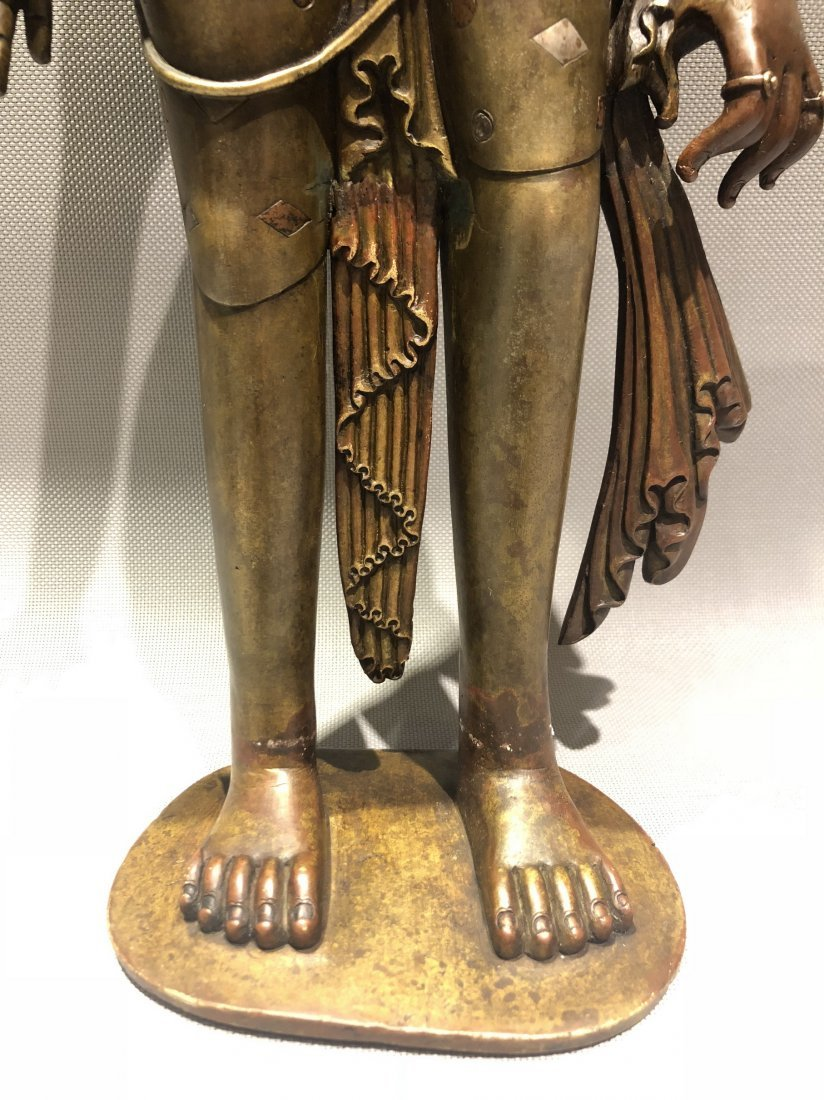 Large Bronze Figure Of Standing Guanyin - 6