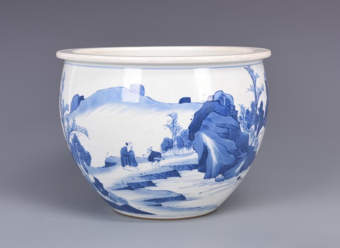 Blue and White Porcelain Planter - 10