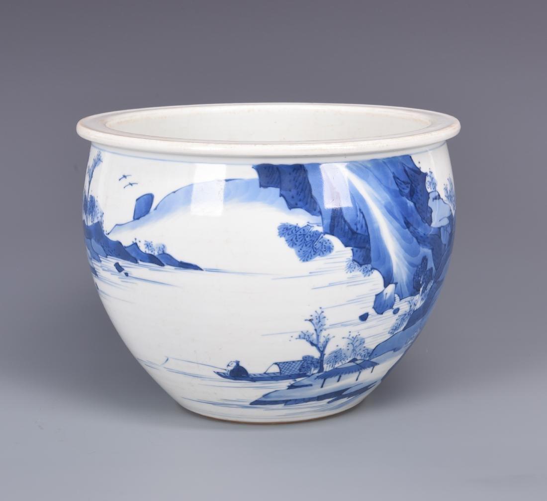 Blue and White Porcelain Planter - 3