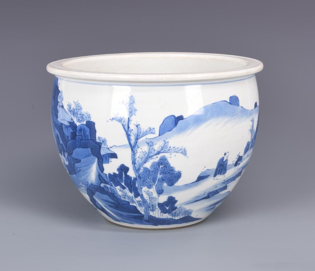 Blue and White Porcelain Planter - 5