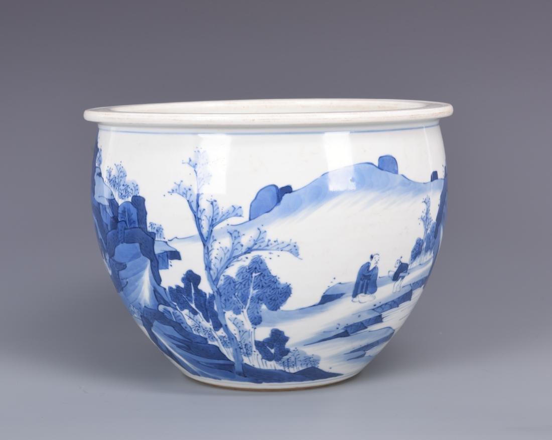 Blue and White Porcelain Planter - 9