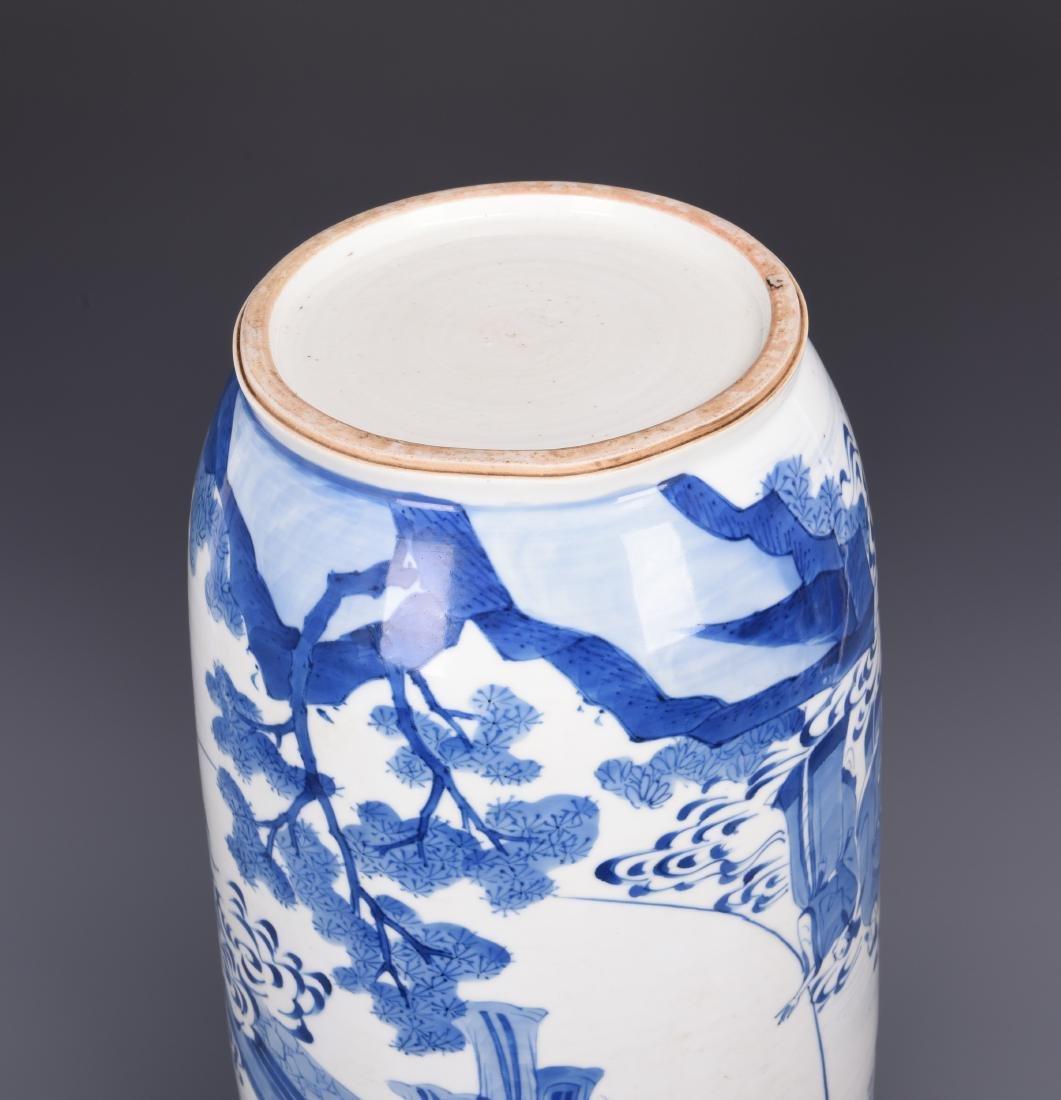 Large Blue and White Porcelain Vase - 8
