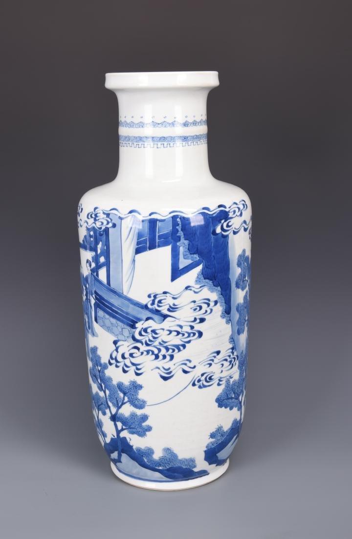Large Blue and White Porcelain Vase - 4