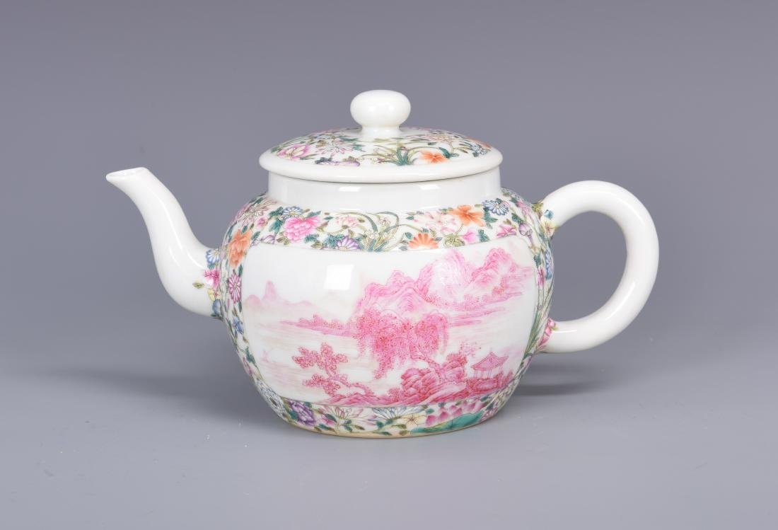 Famille Rose Porcelain Tea pot with Mark