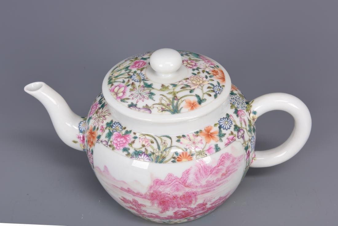 Famille Rose Porcelain Tea pot with Mark - 2