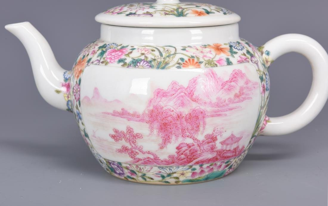 Famille Rose Porcelain Tea pot with Mark - 3