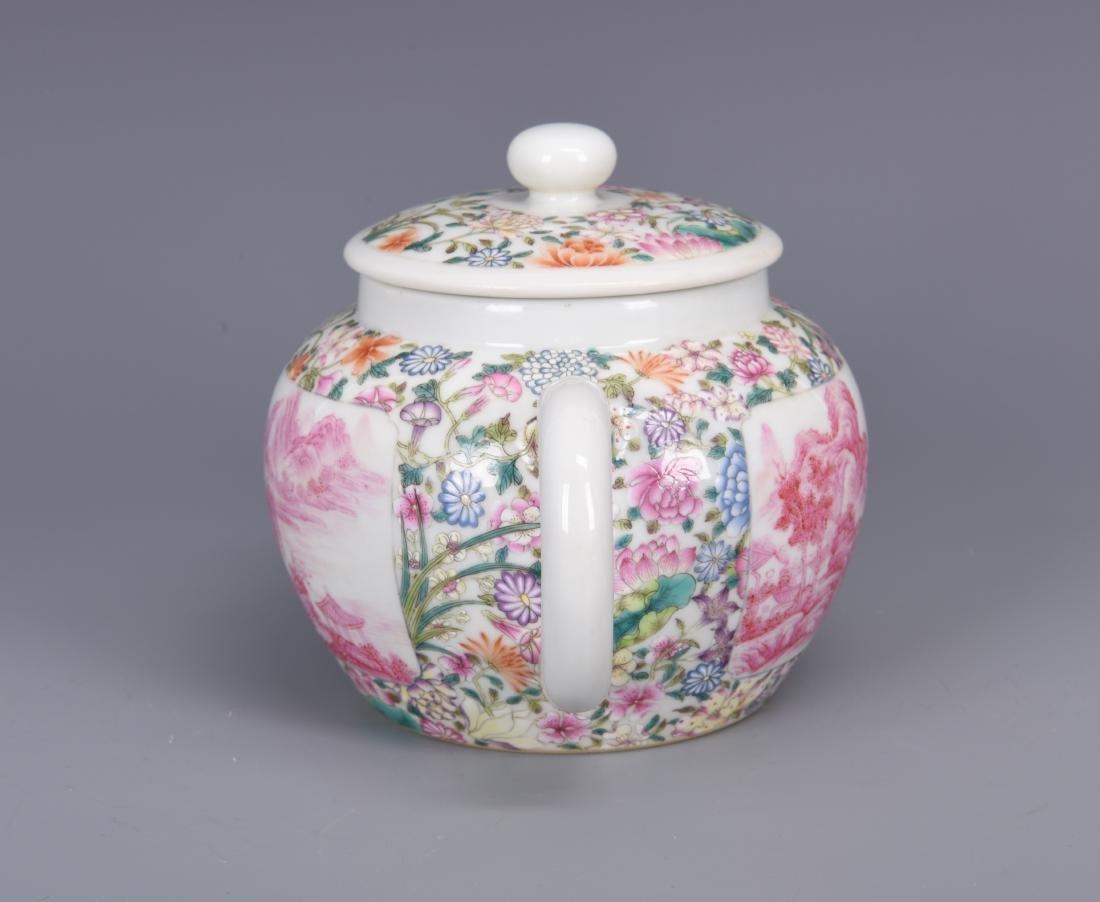 Famille Rose Porcelain Tea pot with Mark - 4