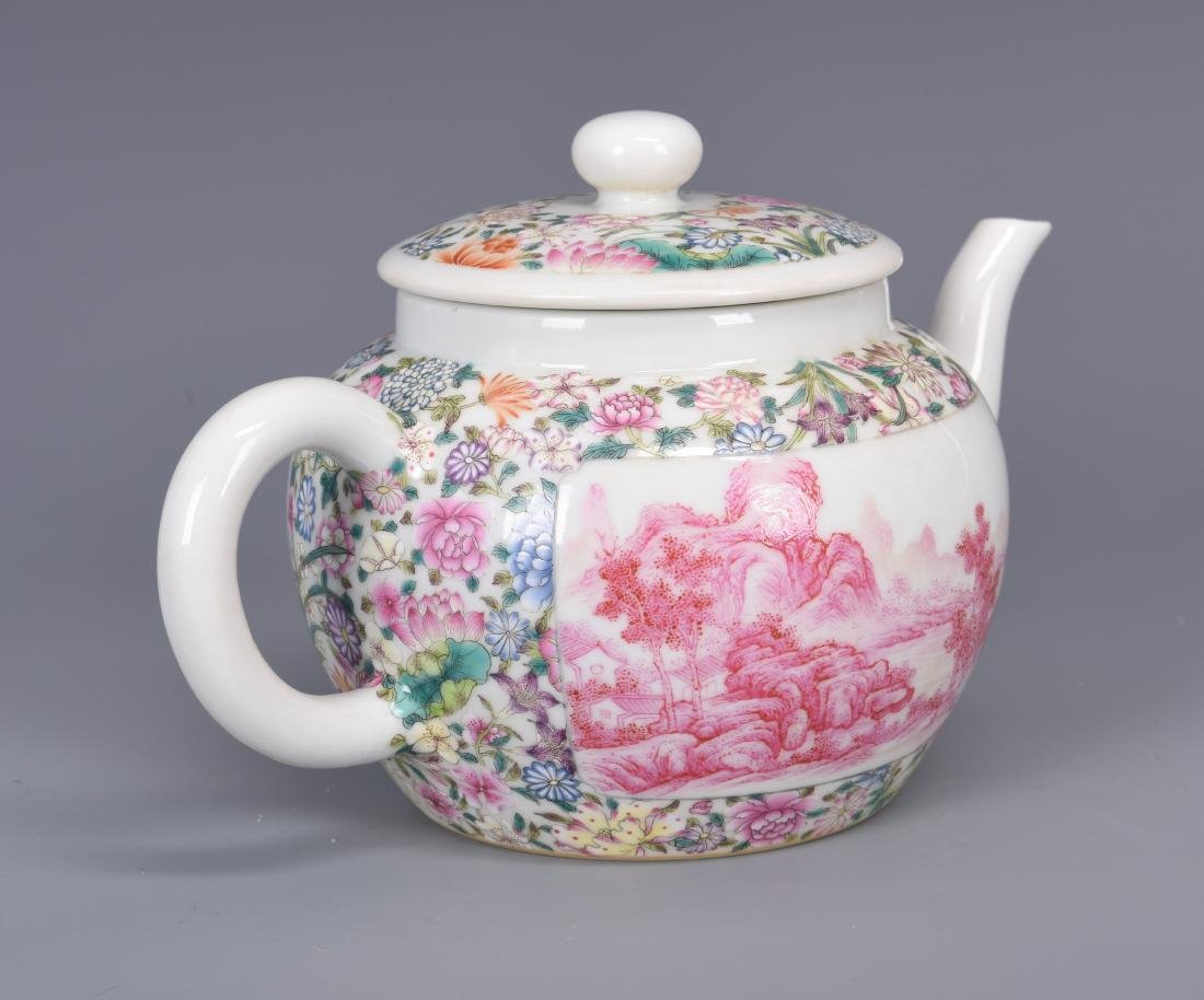 Famille Rose Porcelain Tea pot with Mark - 5
