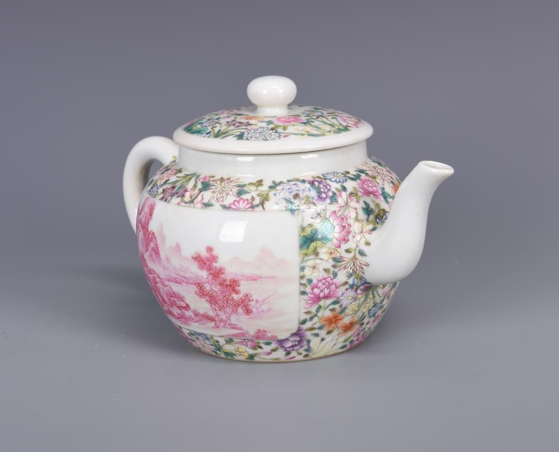 Famille Rose Porcelain Tea pot with Mark - 6
