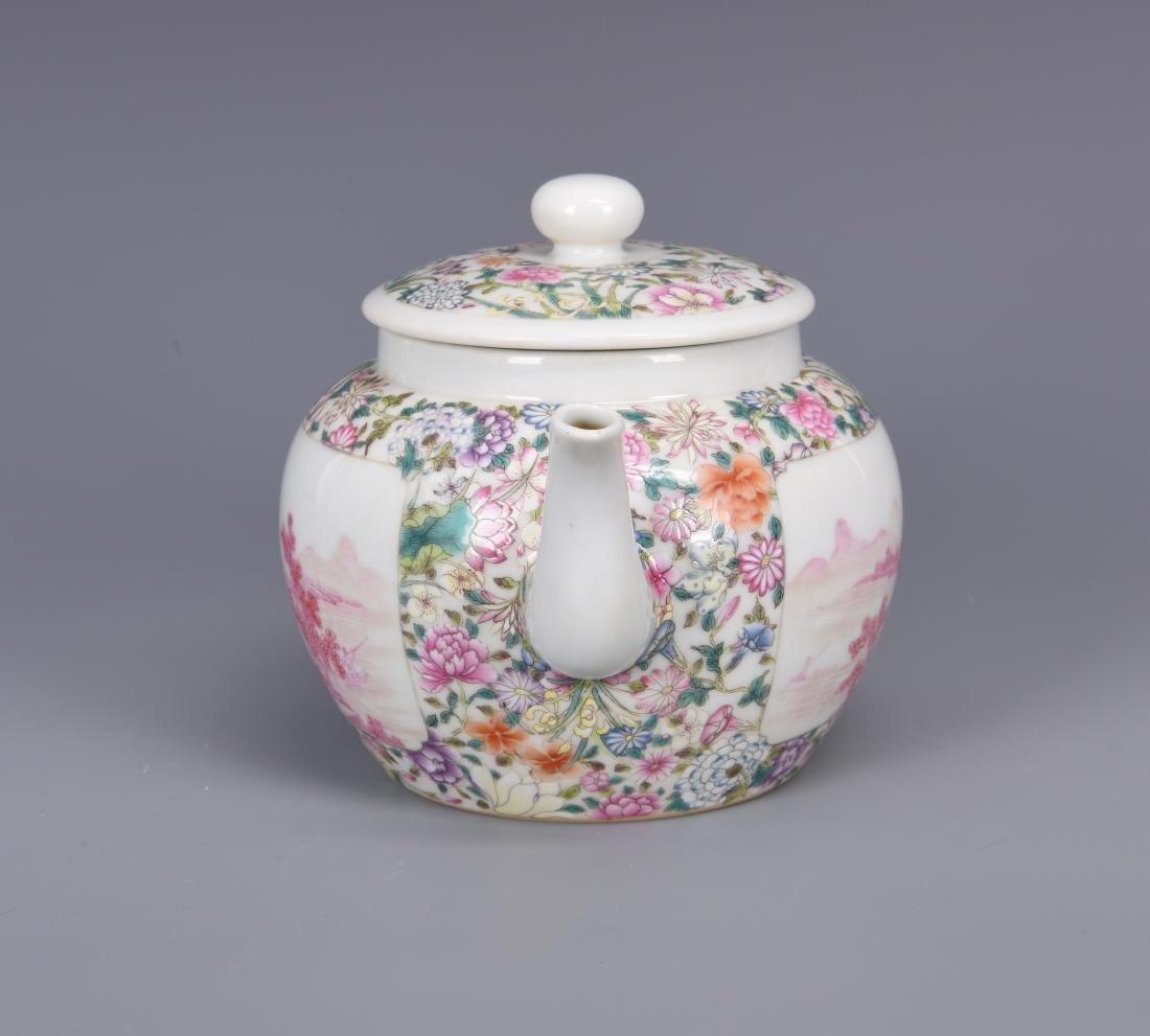 Famille Rose Porcelain Tea pot with Mark - 7