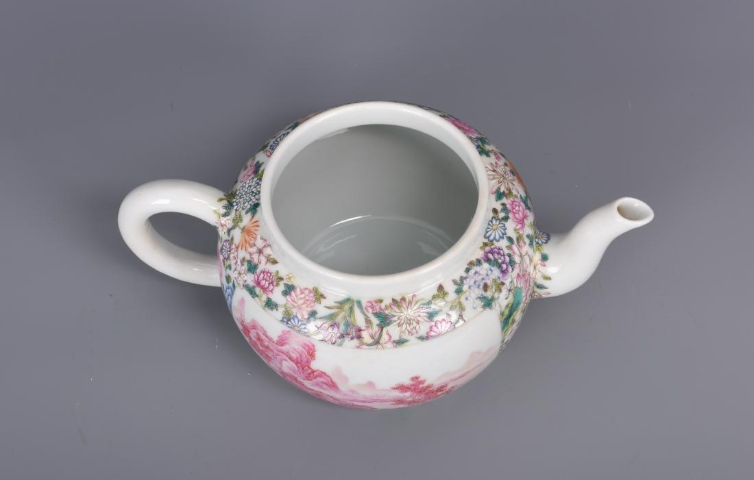 Famille Rose Porcelain Tea pot with Mark - 9