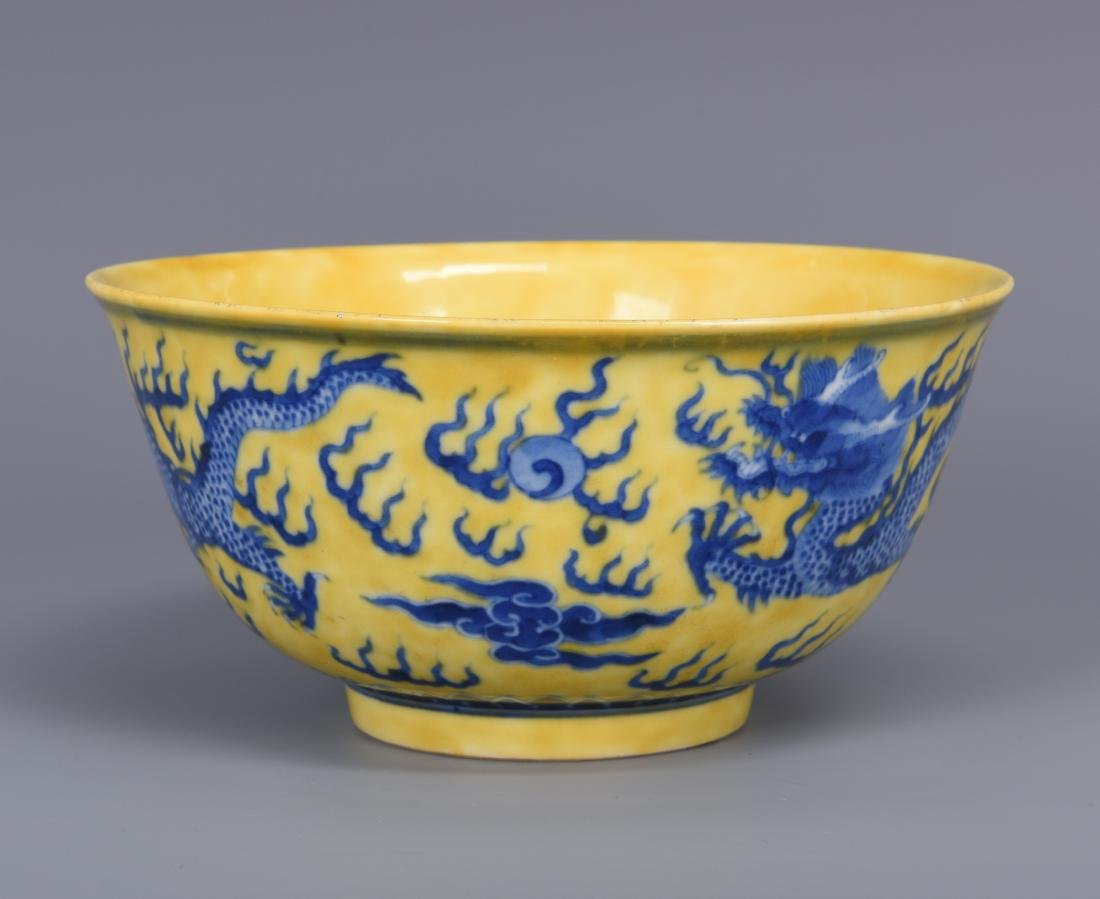 Yellow Glazed Porcelain Blue Dragon Bowl with Mark