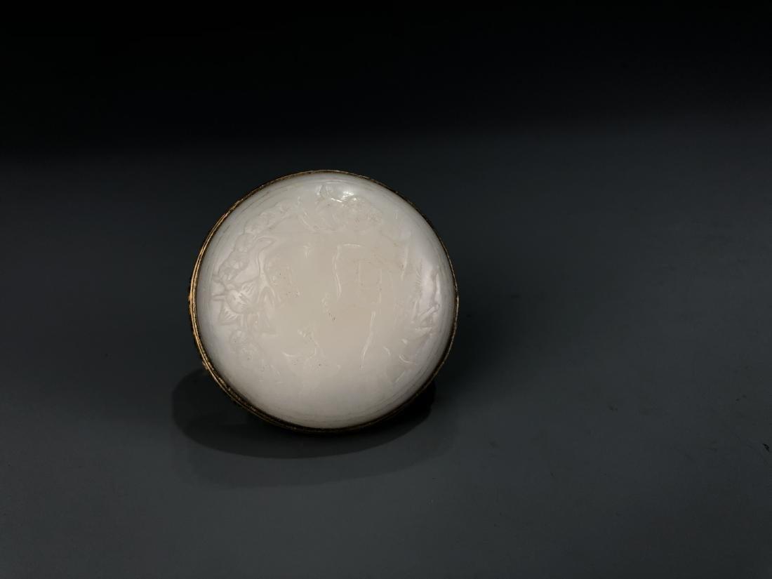 Round White Jade and Gilt Belt Buckle - 4