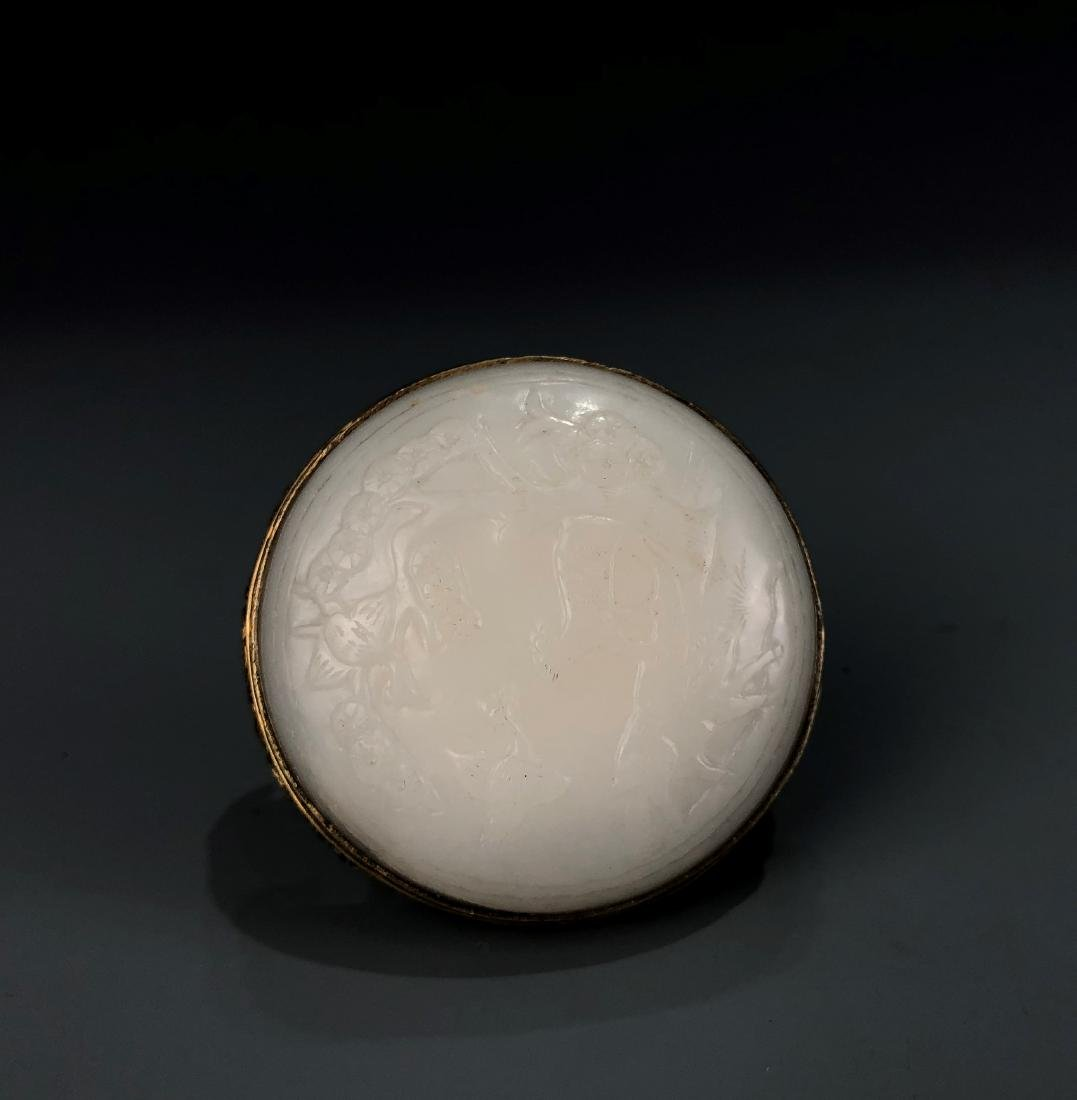 Round White Jade and Gilt Belt Buckle - 8