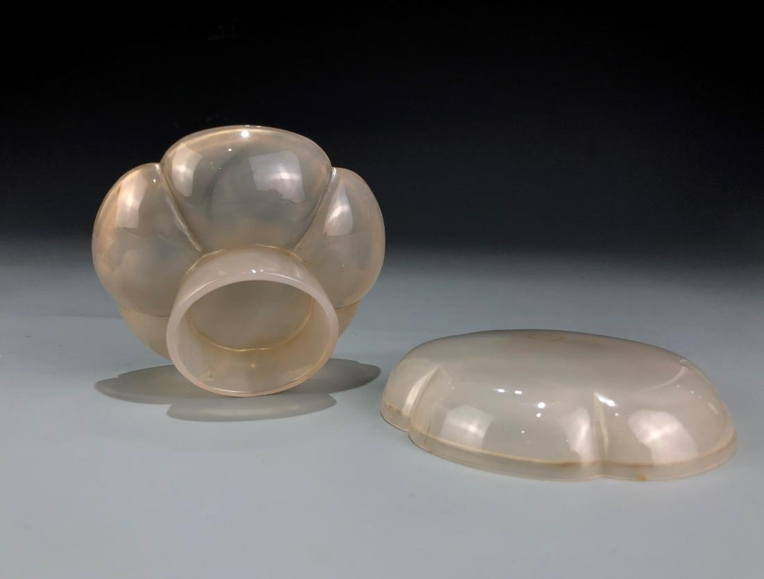 Agate Lotus Petal Box With Cover - 4