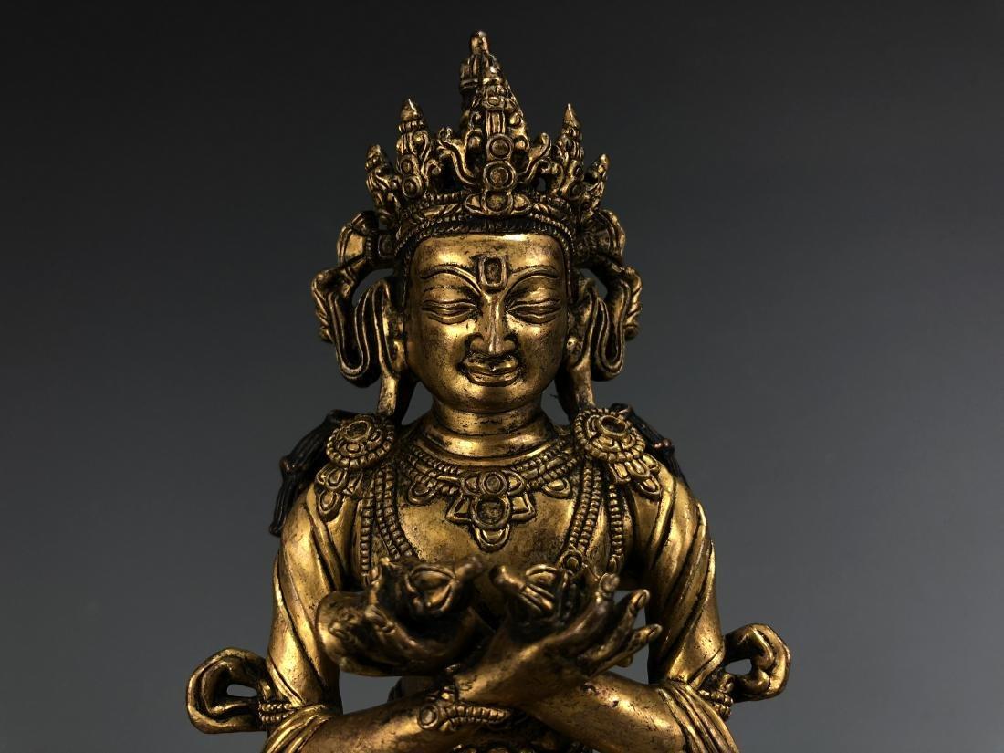 Gilt Bronze Figure of Vairocana - 3