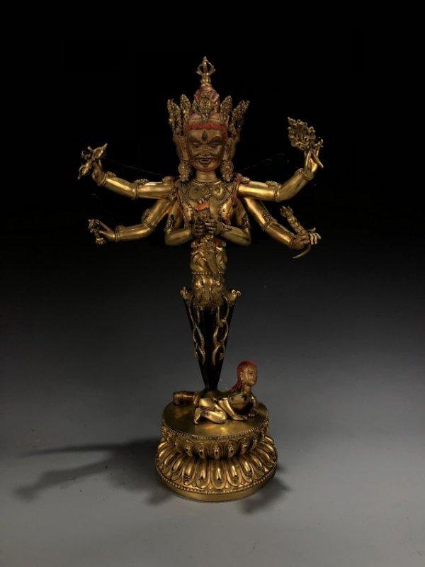 Gilt Bronze Vajvalilaka on Double Lotus Base
