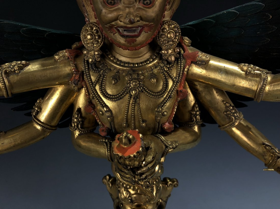 Gilt Bronze Vajvalilaka on Double Lotus Base - 4