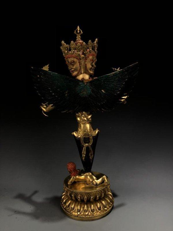Gilt Bronze Vajvalilaka on Double Lotus Base - 8