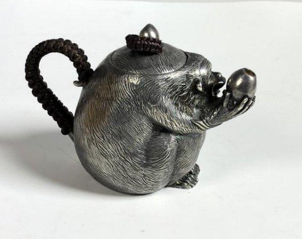 Japanese Silver Monkey Tea Pot with Mark - 4