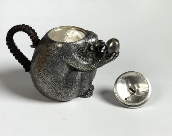 Japanese Silver Monkey Tea Pot with Mark - 5