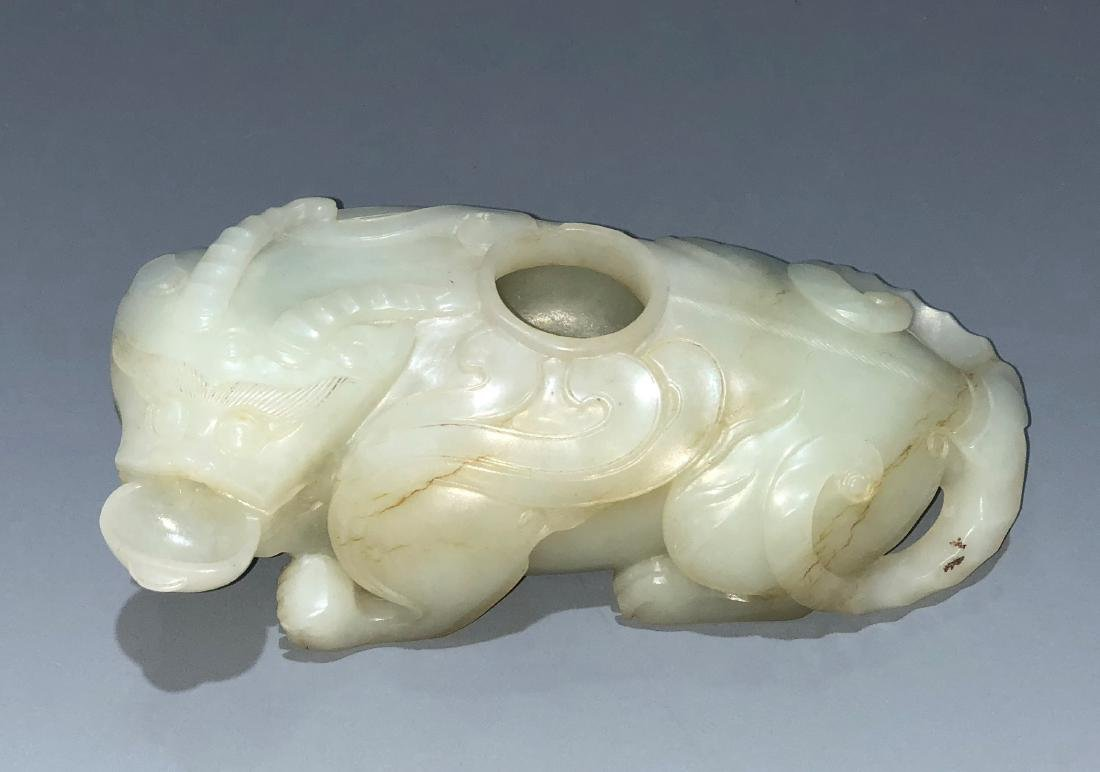 Carved Whit Jade Mythical Beast Water Dropper