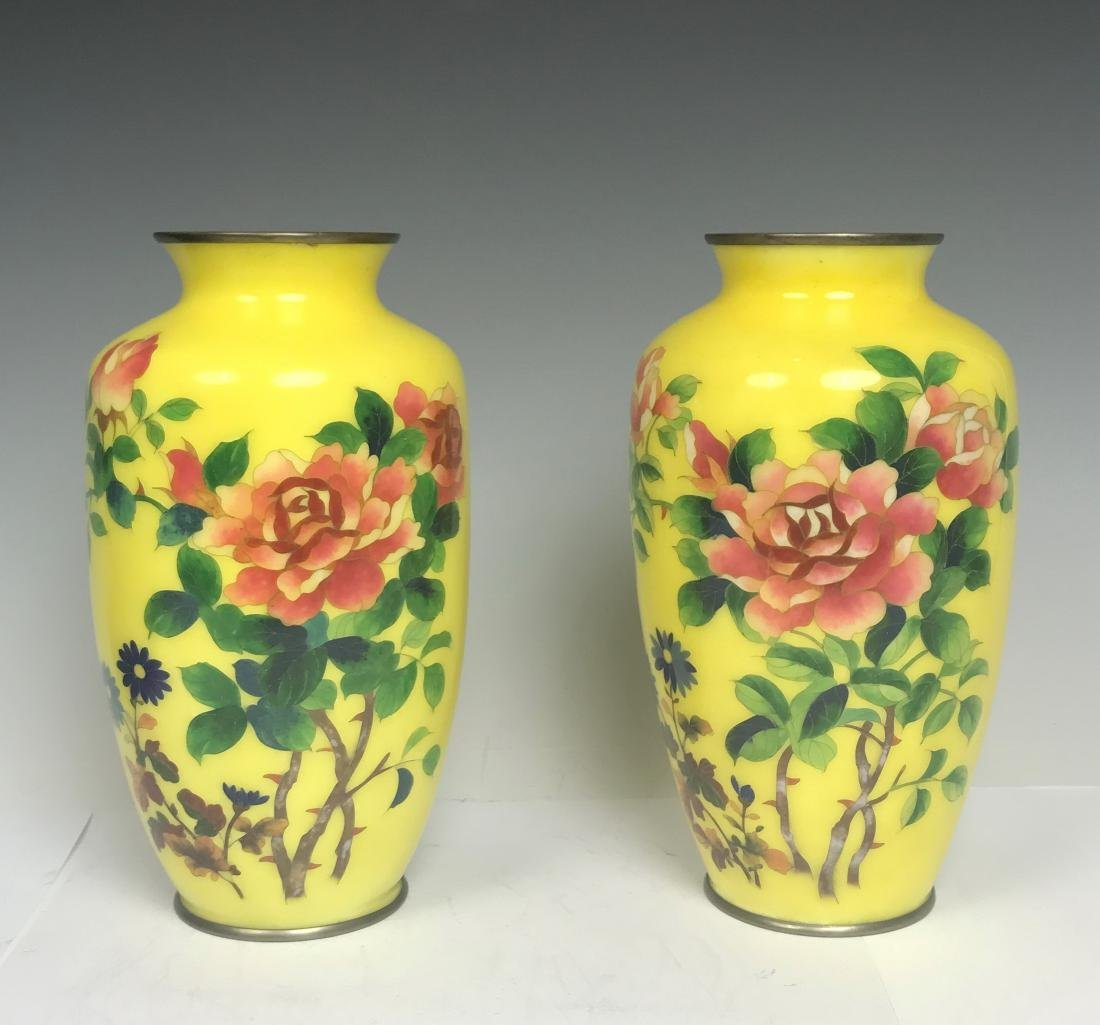 Pair Japanese Bronze Yellow Enamel Flower Vase