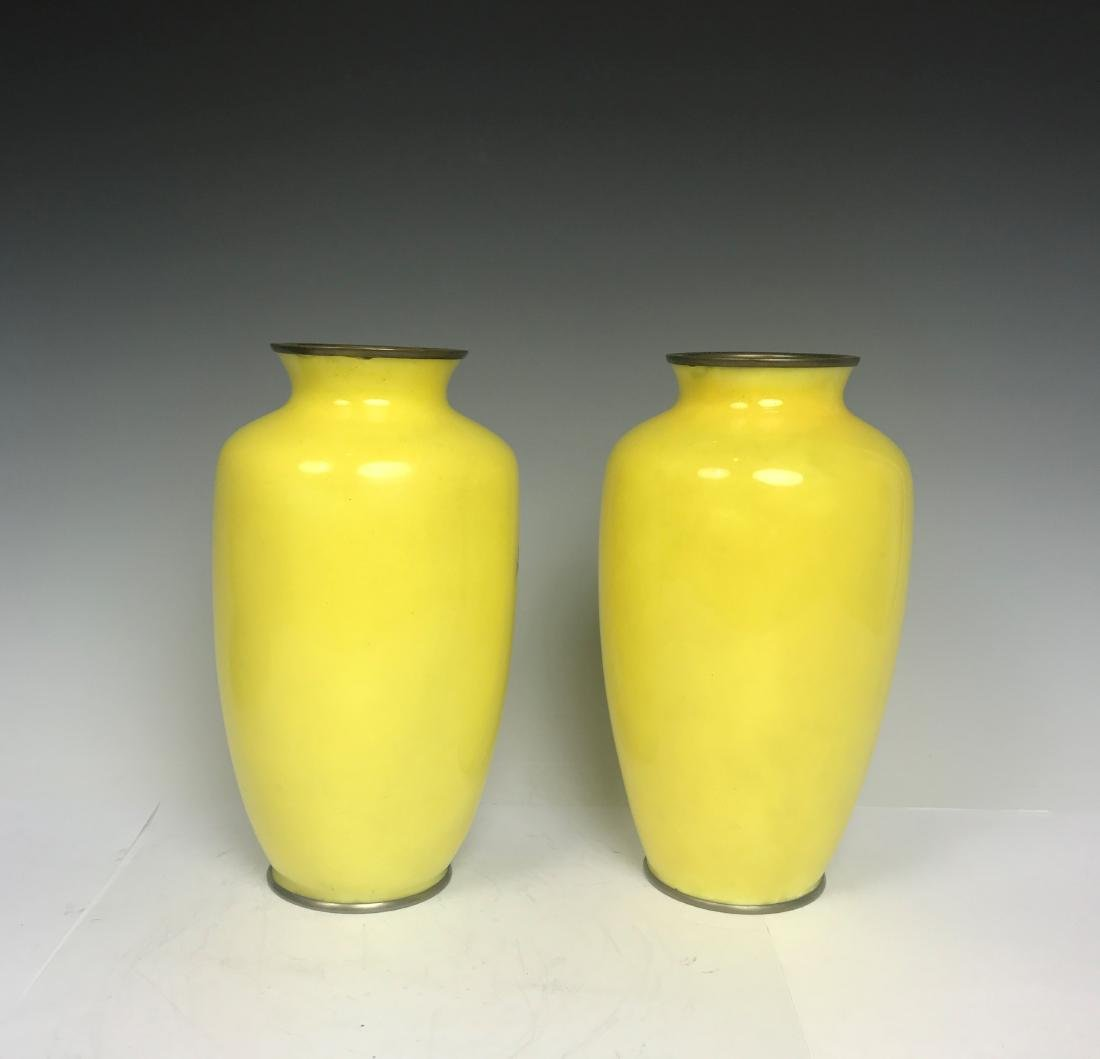 Pair Japanese Bronze Yellow Enamel Flower Vase - 3