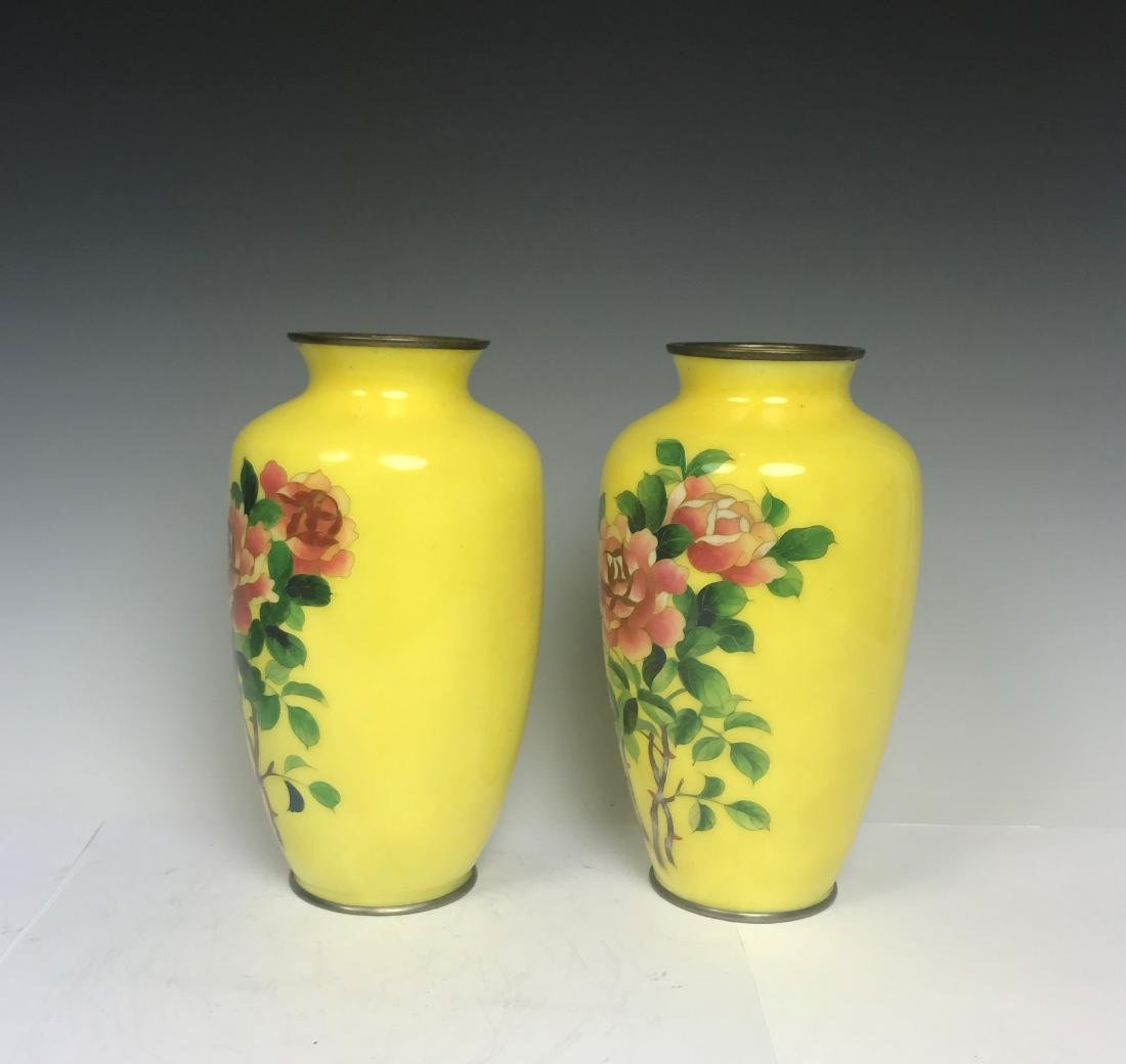 Pair Japanese Bronze Yellow Enamel Flower Vase - 4