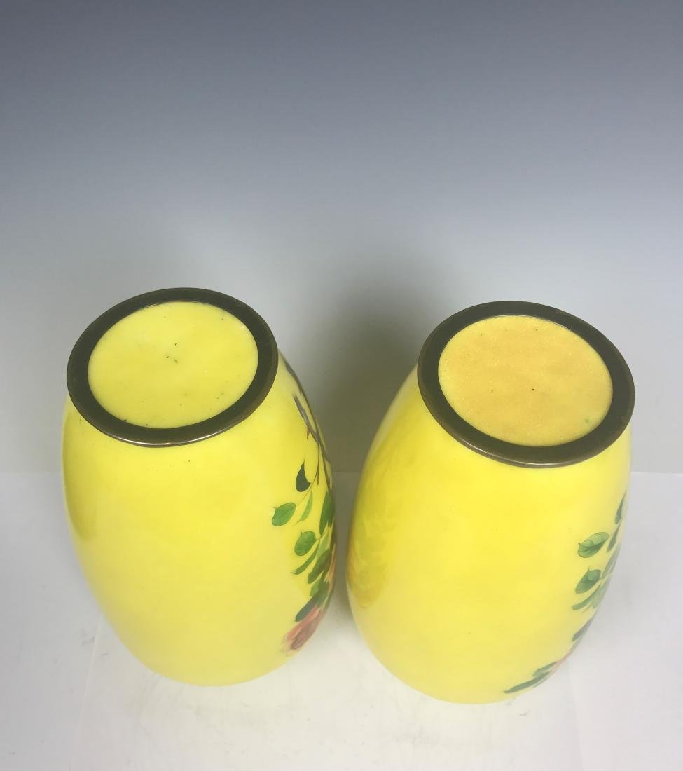 Pair Japanese Bronze Yellow Enamel Flower Vase - 6