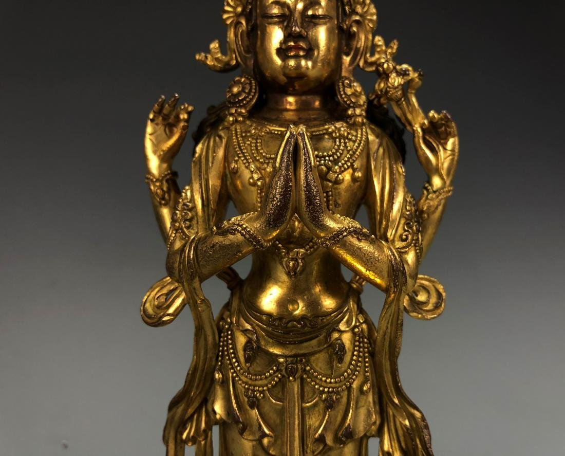 Gilt Bronze Figure of Amitayus, Yongle Mark - 2