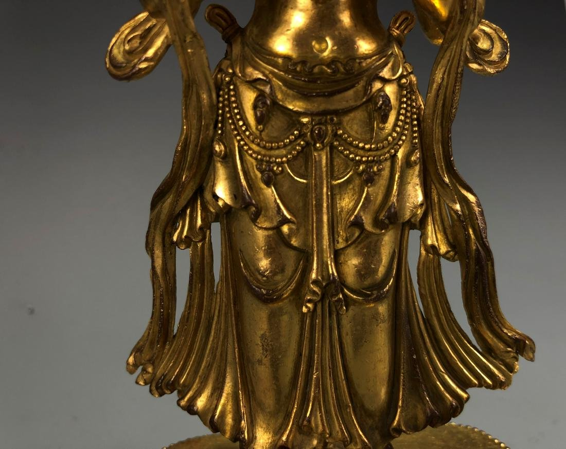 Gilt Bronze Figure of Amitayus, Yongle Mark - 3