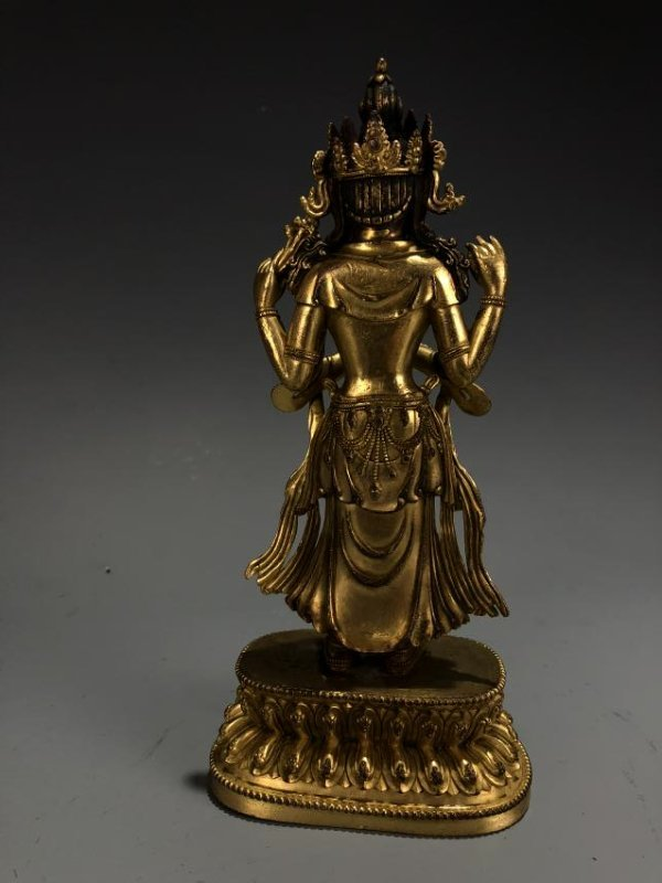 Gilt Bronze Figure of Amitayus, Yongle Mark - 5