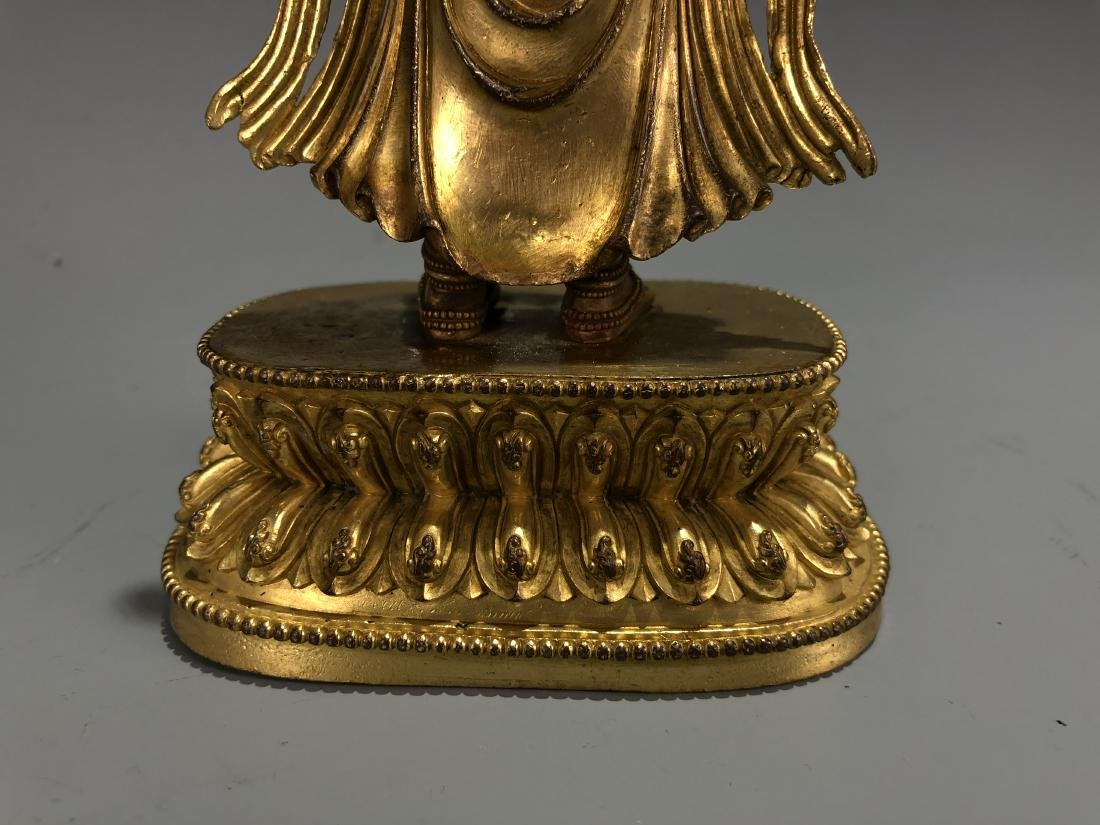 Gilt Bronze Figure of Amitayus, Yongle Mark - 6