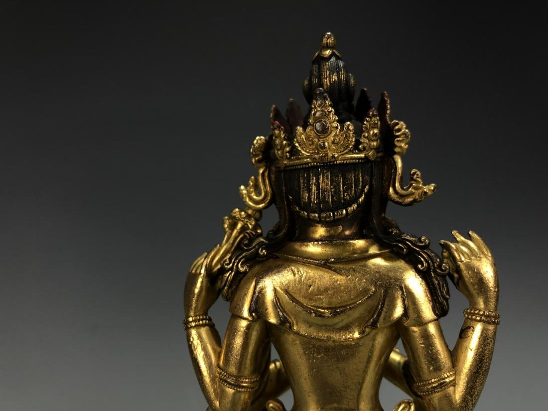 Gilt Bronze Figure of Amitayus, Yongle Mark - 7