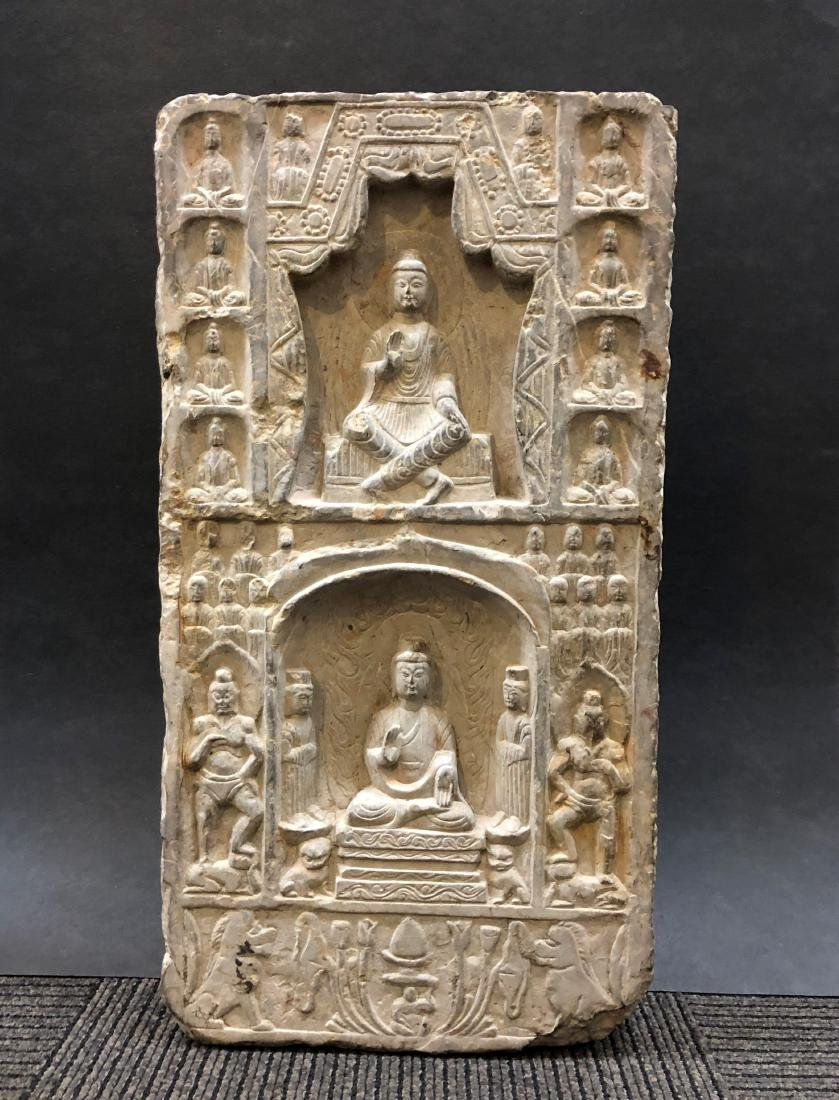 Marble Carving of Buddhas in Stele