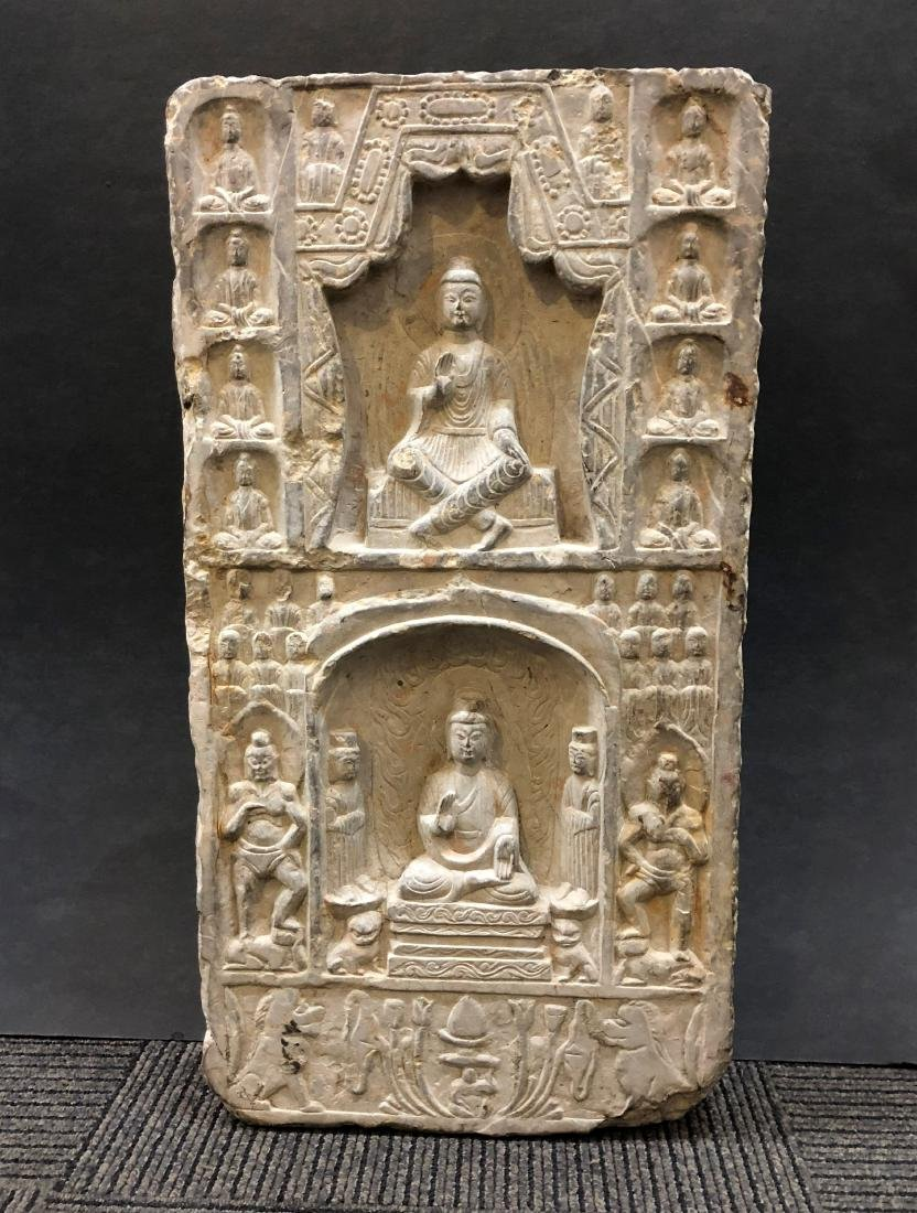 Marble Carving of Buddhas in Stele - 2
