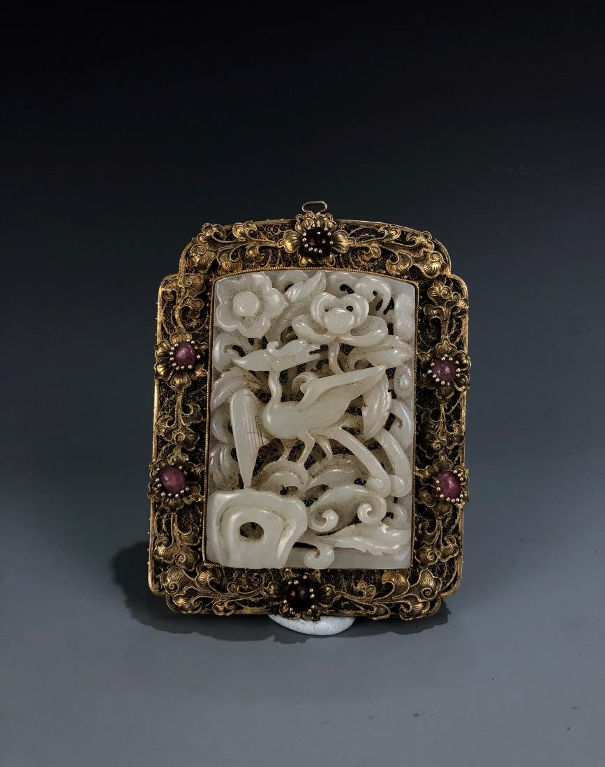 Carved White Jade Bird in Gilt Frame Pendant