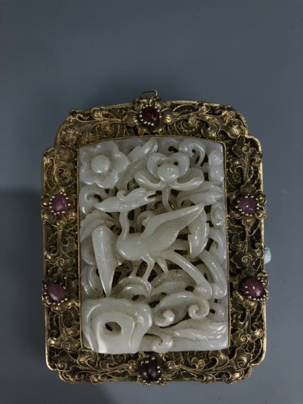 Carved White Jade Bird in Gilt Frame Pendant - 4
