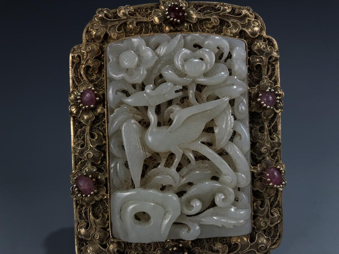 Carved White Jade Bird in Gilt Frame Pendant - 5