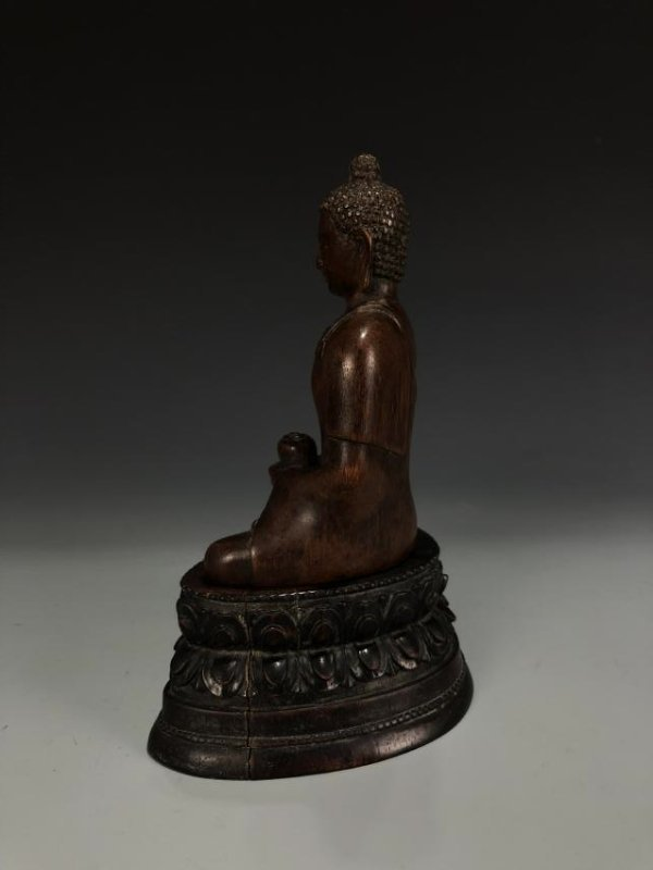 Carved Agarwood Figure of Shakyamuni w/ Zitan Base - 10