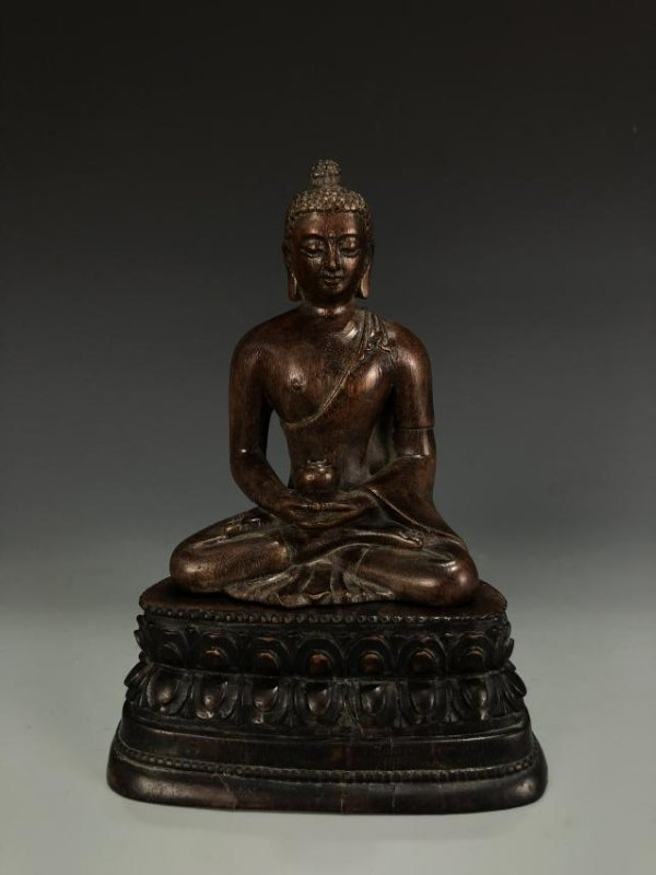 Carved Agarwood Figure of Shakyamuni w/ Zitan Base