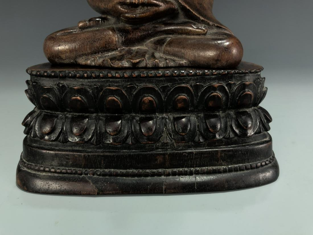 Carved Agarwood Figure of Shakyamuni w/ Zitan Base - 3