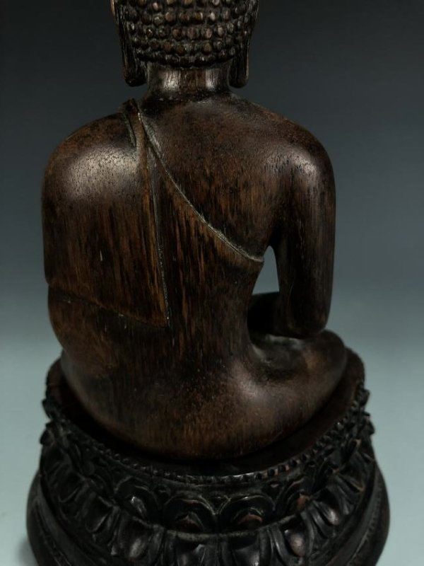 Carved Agarwood Figure of Shakyamuni w/ Zitan Base - 8