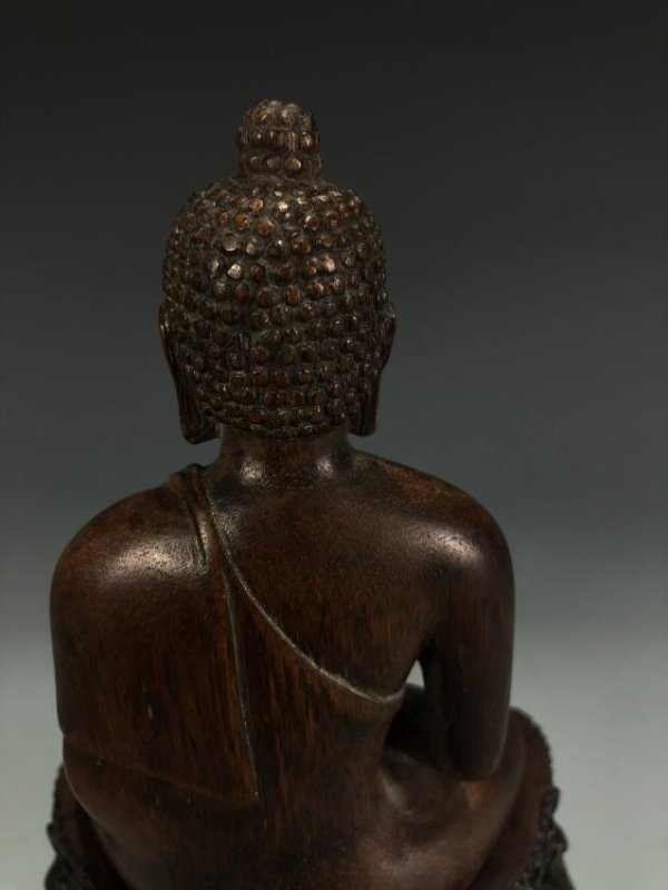 Carved Agarwood Figure of Shakyamuni w/ Zitan Base - 9