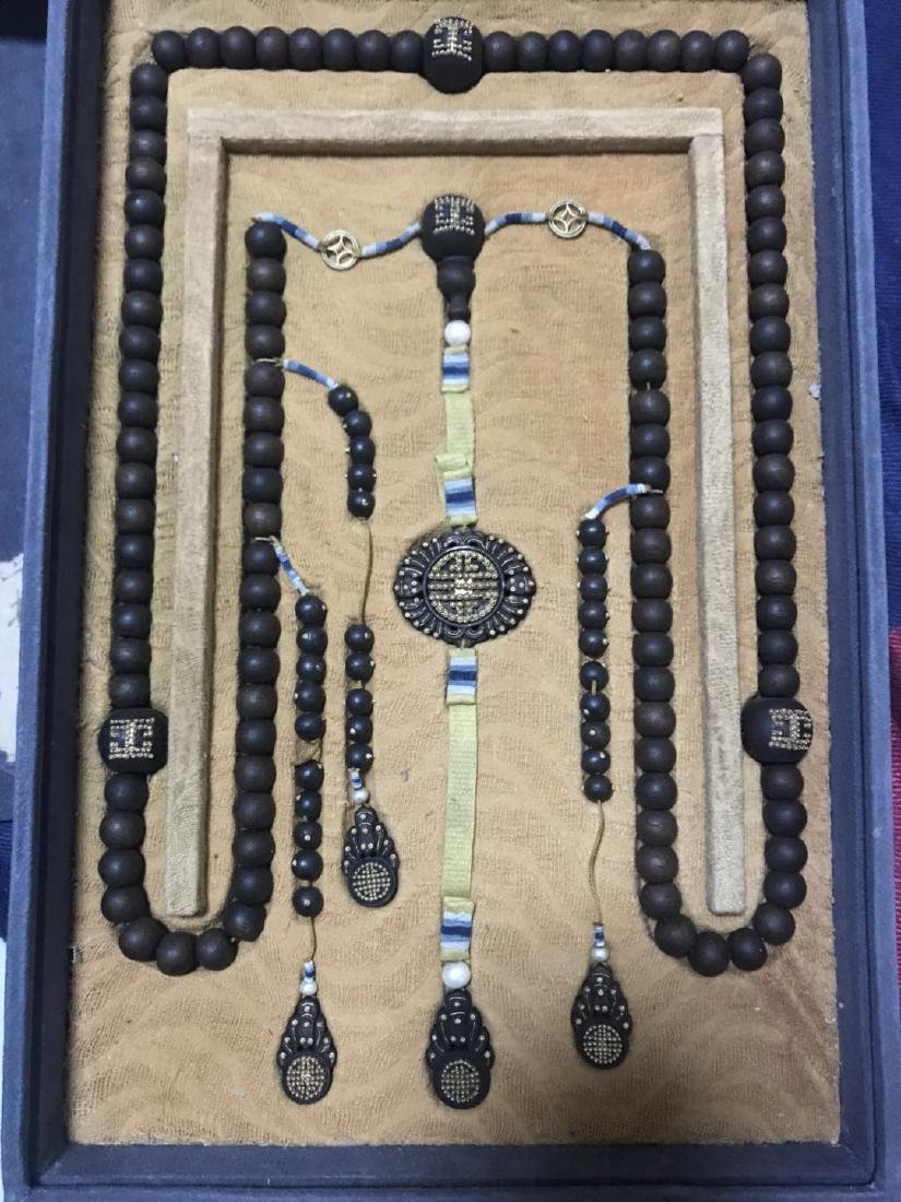 Agar Wood Imperial Court Necklace with Pearl