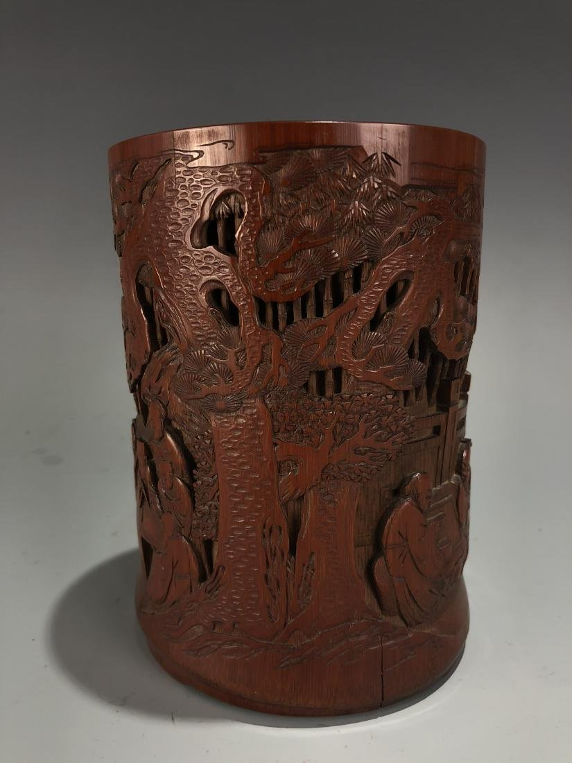 Finely Carved Bamboo 'Scholars' Brush Pot - 2