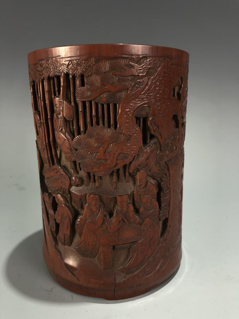Finely Carved Bamboo 'Scholars' Brush Pot - 3